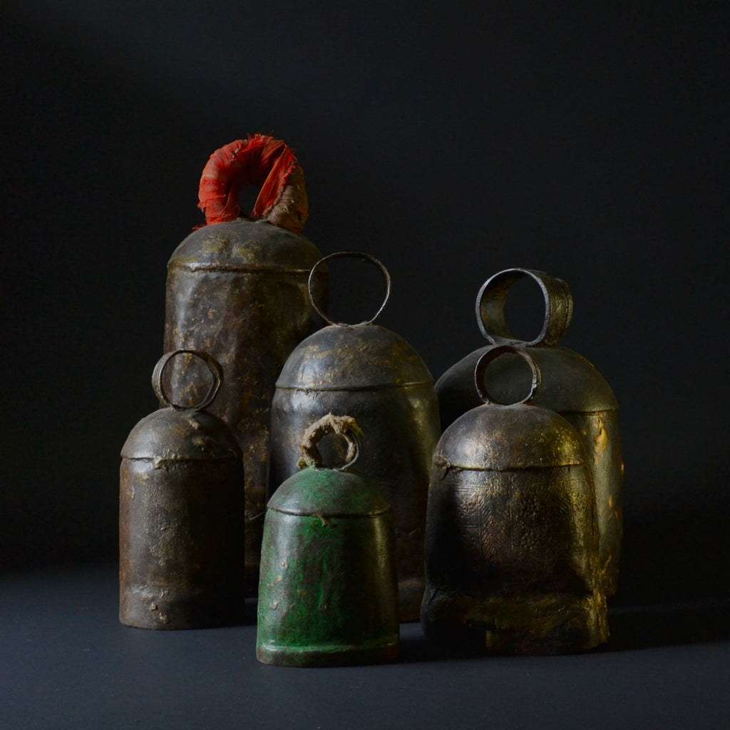 A Collection of Six Large Bronzed Iron Bells, Circa 1800