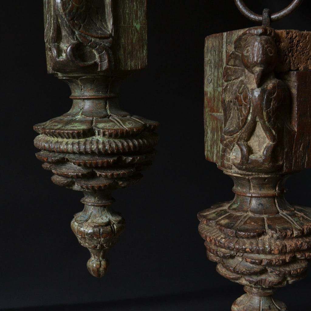Pair Of 18th Century Hanging Peacock Finials.