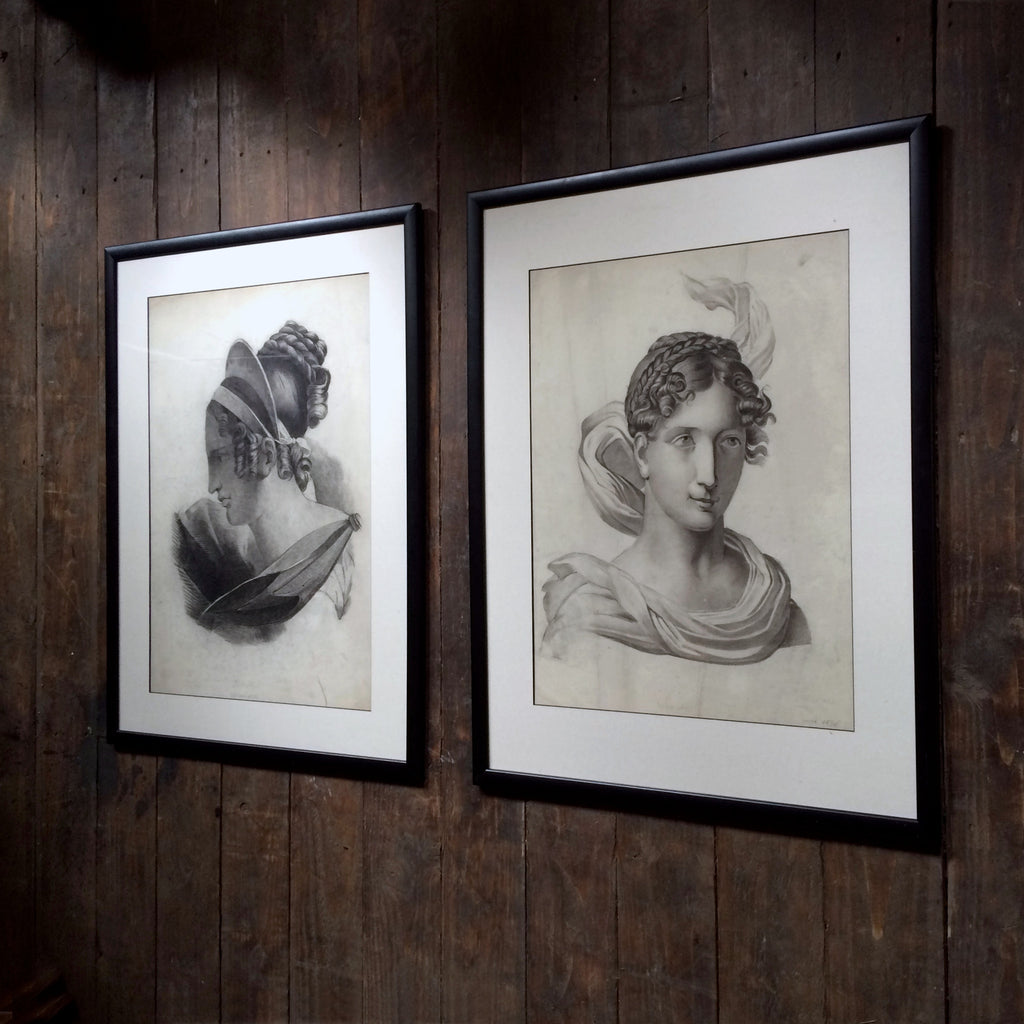 Pair of Fine Neoclassical Graphite Drawings. Dated 1836