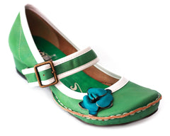 Gracie Side Flower Strap Shoes (Green - Blue Flower)
