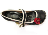 Gracie-Side Flower Strap Shoe (Black)