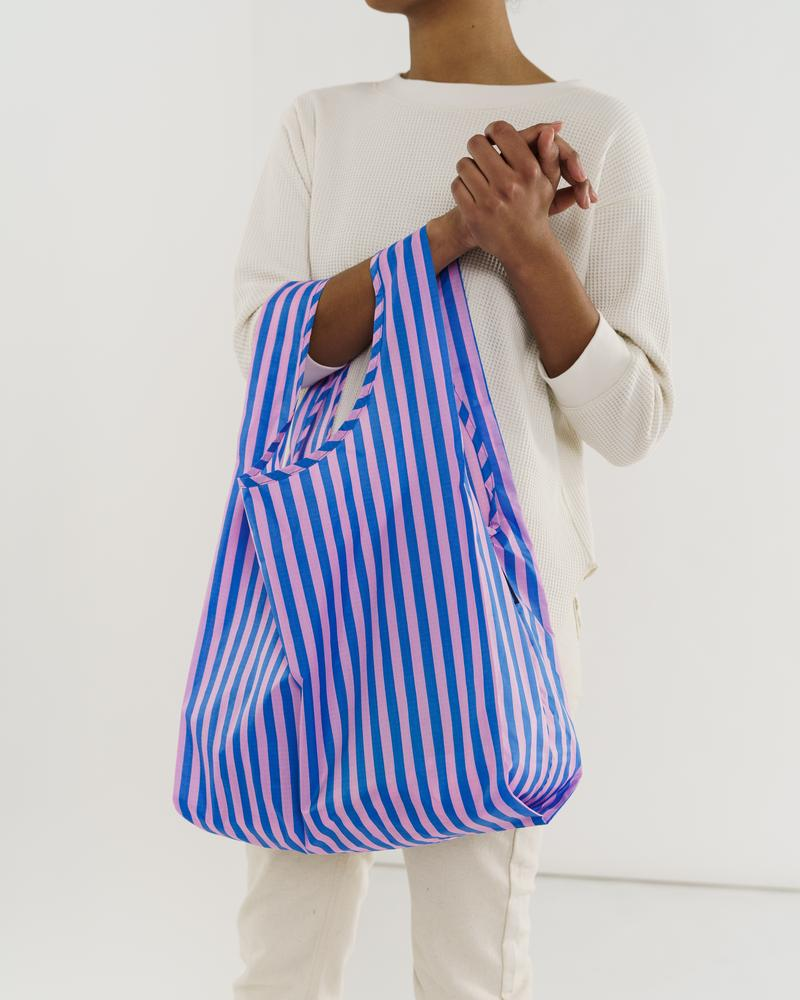 BAGGU Standard Baggu (Pink & Blue Stripe). Worldwide Free Shipping - Singapore, Malaysia, Brunei, Indonesia, India, Japan, Hong Kong, USA, UAE and Europe!