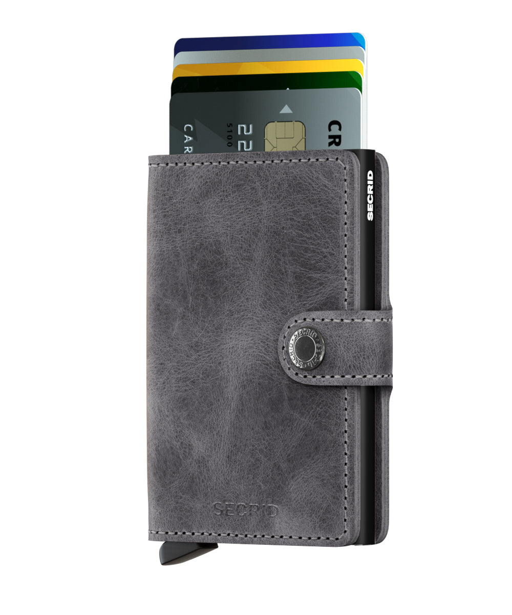 Secrid Miniwallet (Vintage Grey Black). Worldwide Free Shipping - Singapore, Malaysia, Brunei, Indonesia, Hong Kong, USA, Europe!