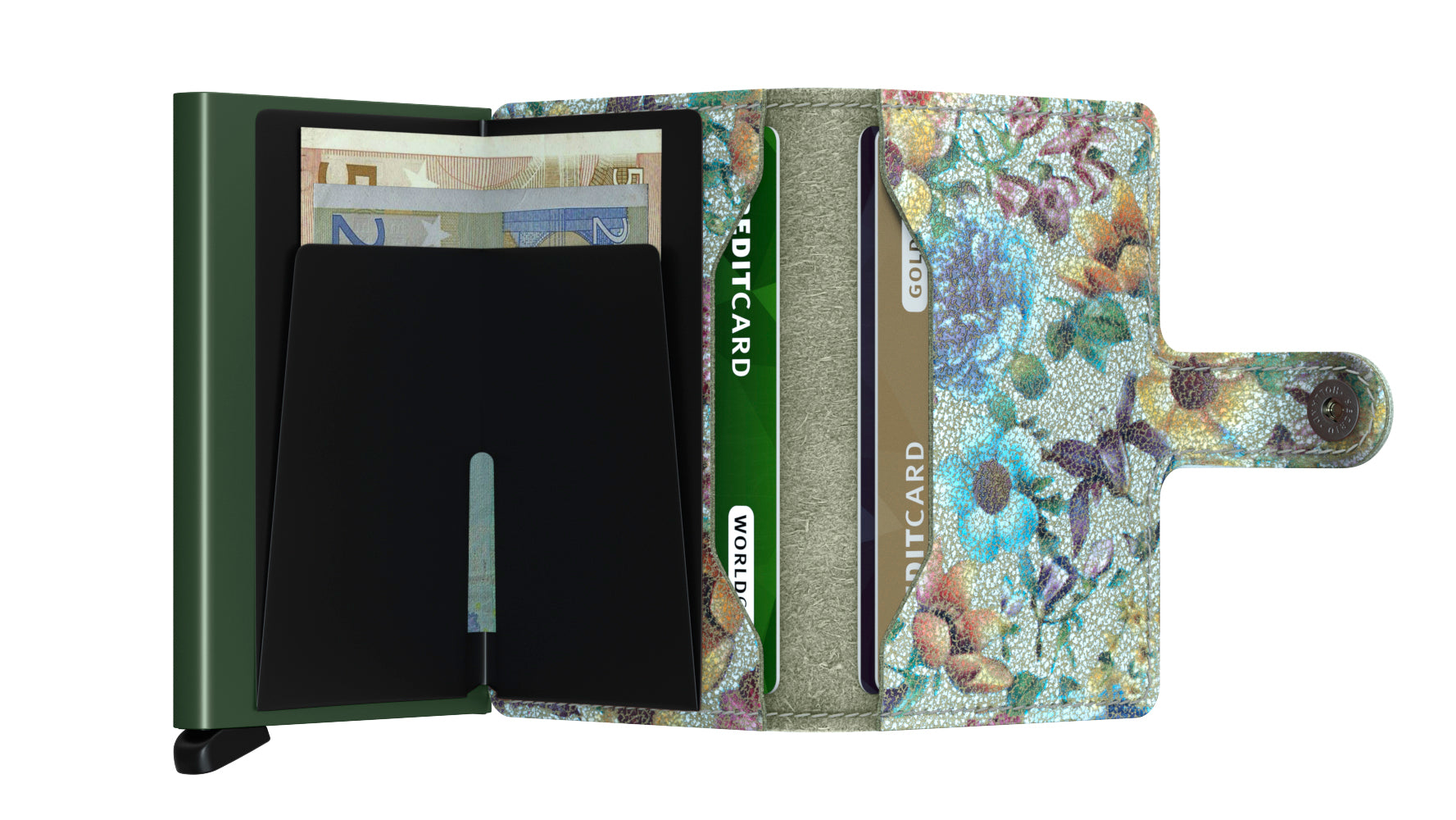Secrid Miniwallet (Crisple Pistachio Floral). Worldwide Free Shipping - Singapore, Malaysia, Brunei, Indonesia, Hong Kong, USA, Europe!