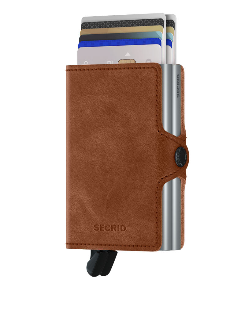 Secrid Twinwallet (Vintage Cognac Silver). Worldwide Free Shipping - Singapore, Malaysia, Brunei, Indonesia, Hong Kong, USA, Europe!