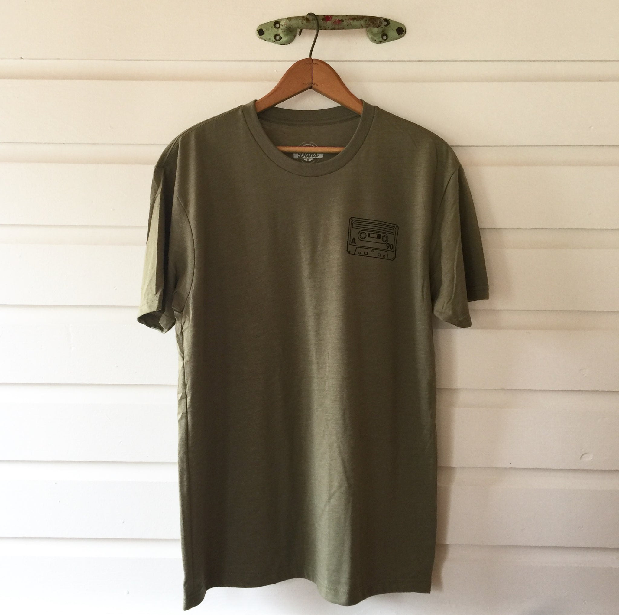 Cassette Tape Tee Shirt (Light Olive)