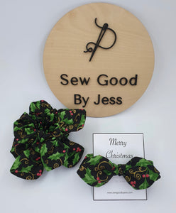 Christmas Cherry Mini Bow Scrunchies
