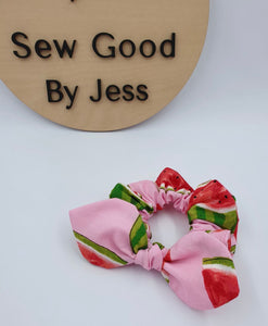 Pink Watermelon Mini Bow Scrunchy