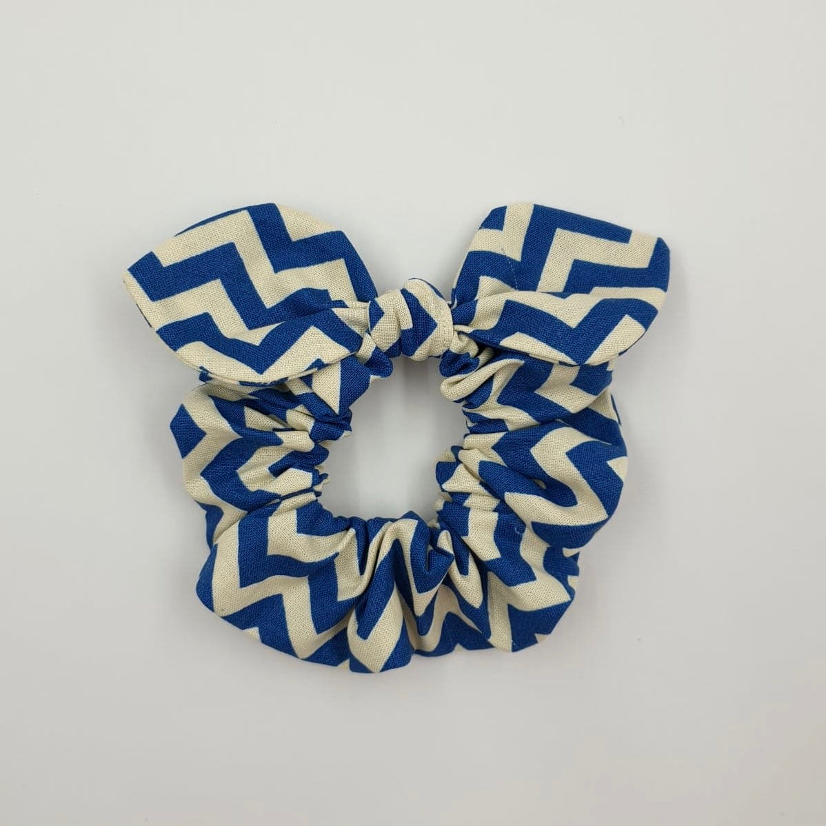 Blue Zigzag Mini Bow Scrunchy