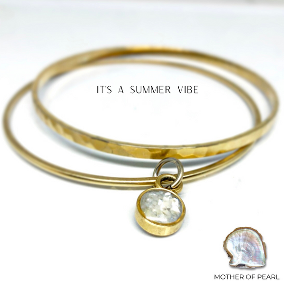Charm Bangle Bracelets- Mother of Pearl