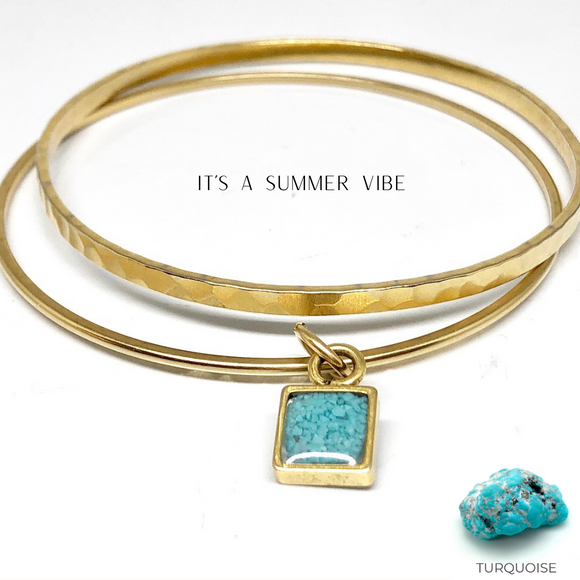 Charm Bangle Bracelets- Turquoise