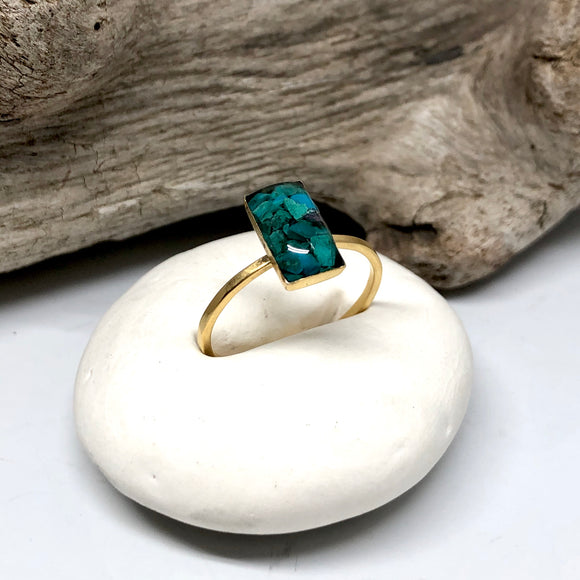 Rectangle Chrysocolla ring