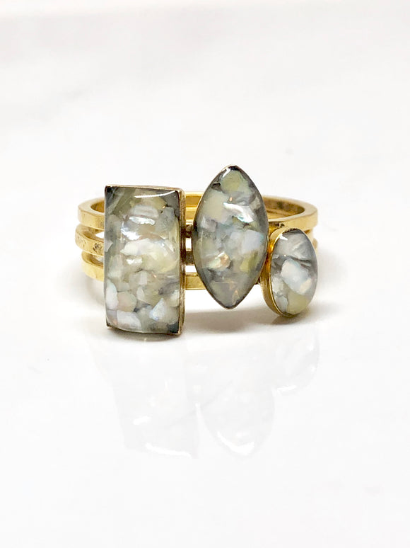 Mother of pearl Trio rings