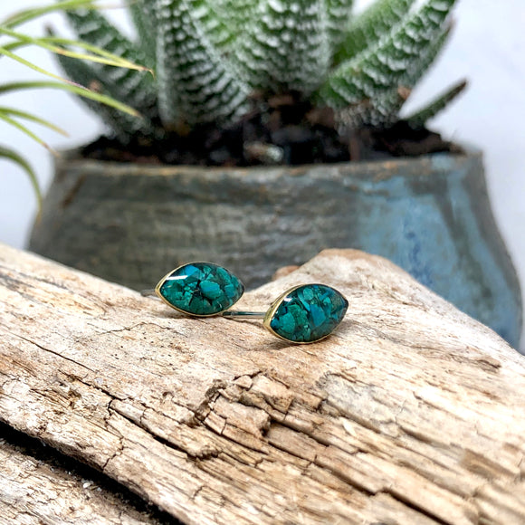 Crushed stones Post Earrings- Marquise Chrysocolla Studs