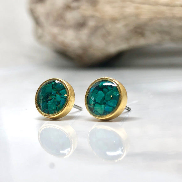 Crushed stones Post Earrings-Circle Chrysocolla  Studs