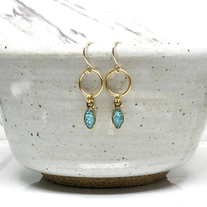 Mini Navette Earrings - Turquoise