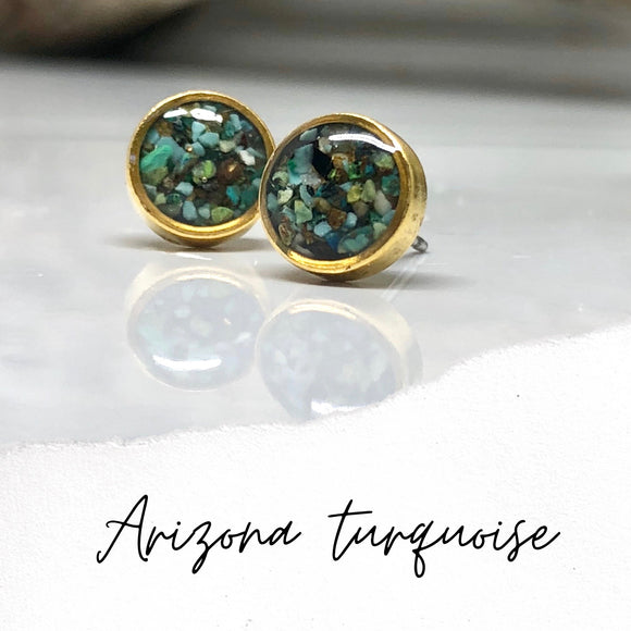 Crushed stones Post Earrings-Circle Arizona Turquoise Studs