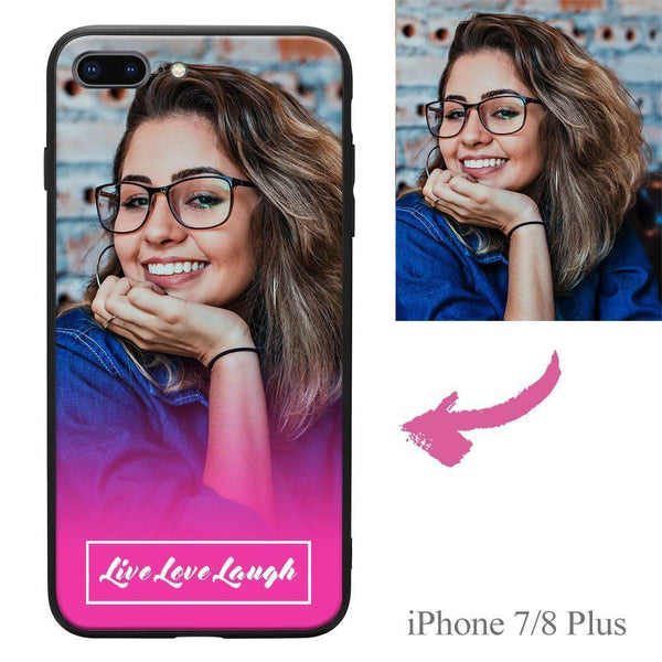 "iPhone7p/8p Custom ""Live Love Laugh"" Photo Protective Phone Case"