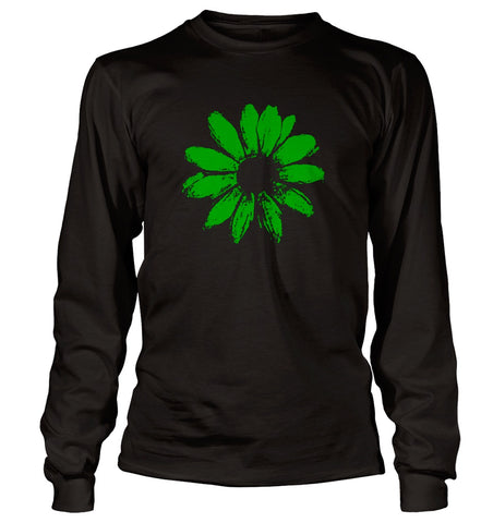 Daisy Long Sleeve, Black T-shirt, Green print