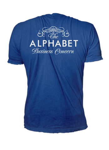 Little Man t-shirt with ABC backprint, royal blue