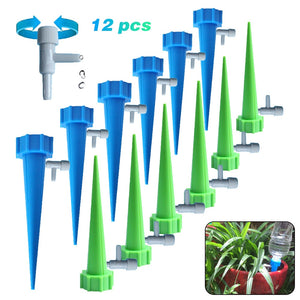 12PCs Plant Water Seepage Organ Automatic Drop Dawdler Valve Adjust Flower Self Watering Spikes Stakes Irrigation System - All The Buys