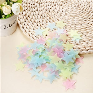 100 pcs. 3D stars glow in the dark Luminous on Wall Stickers - All The Buys