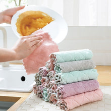 Load image into Gallery viewer, 1pc Household Soft Thick Dish Towel Double Sided Microfiber Cleaning Cloth Super Absorbent Kitchen Dish Bowl Washing Cloth Rag - All The Buys