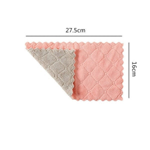 1pc Household Soft Thick Dish Towel Double Sided Microfiber Cleaning Cloth Super Absorbent Kitchen Dish Bowl Washing Cloth Rag - All The Buys