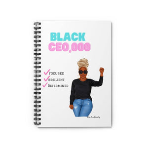Black CEO Spiral Notebook - Ruled Line - Dime Diva Branding