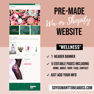 """Wellness"" Pre-Made Website (Wix or Shopify)"