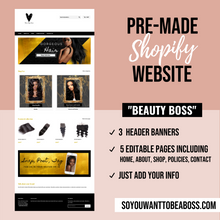 "Load image into Gallery viewer, ""Beauty Boss"" Pre-Made Website (Shopify)"