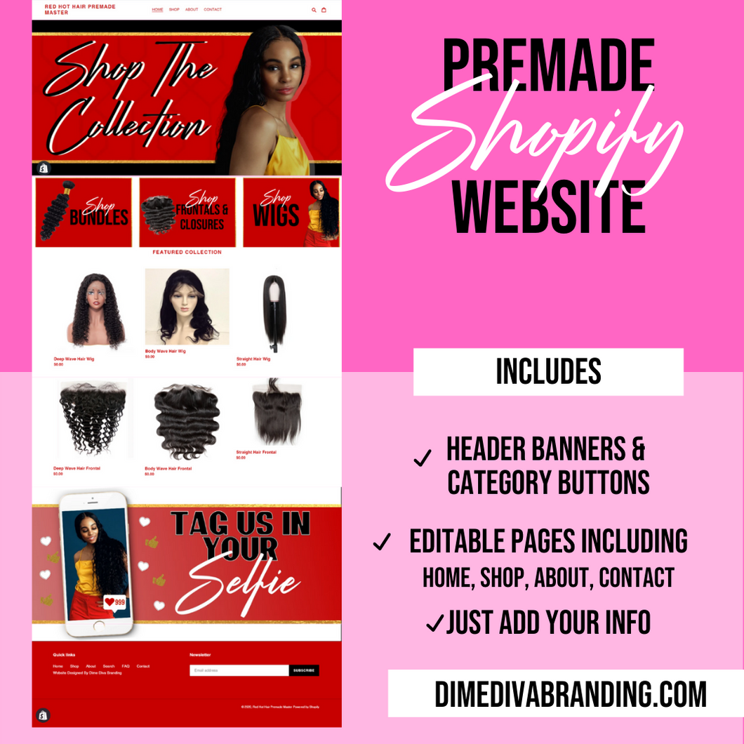 Red HOT Hair (Exclusive Shopify) Pre-made Website - Dime Diva Branding