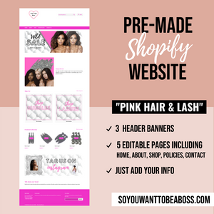 """Pink Hair & Lash"" Pre-Made Website (Shopify)"