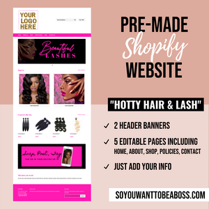 """Hotty Hair & Lash"" Pre-Made Website (Shopify) - Dime Diva Branding"