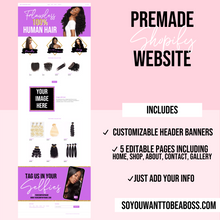 Load image into Gallery viewer, Purple and Gold Pre-Made Flawless Hair Website- Shopify