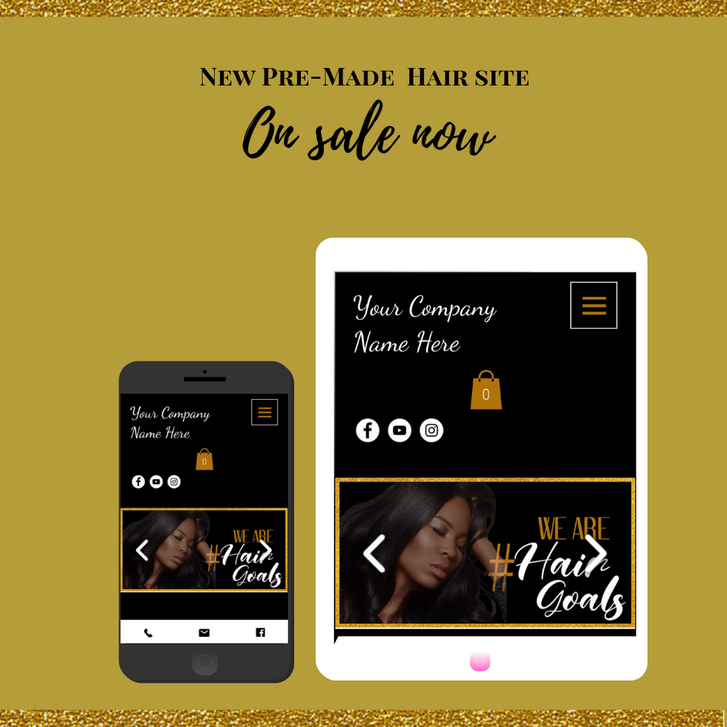 Pre-Made Black/Gold Hair Website (Wix or Shopify)