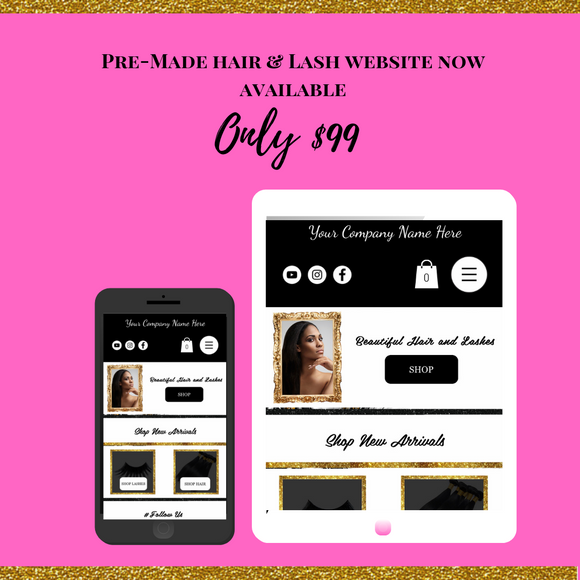 Pre-Made Lash and Hair website 01