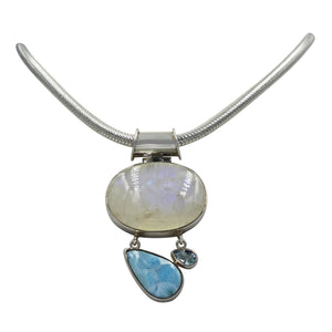 Moonstone Statement pendant accent with complementary blue colours from Blue Topaz and Larimar, Handcrafted on Sterling Silver