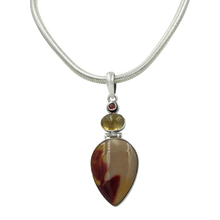 Load image into Gallery viewer, Sundari Classic design of Beautiful Mookaite statement Pendant accent with Citrine and Garnet stones