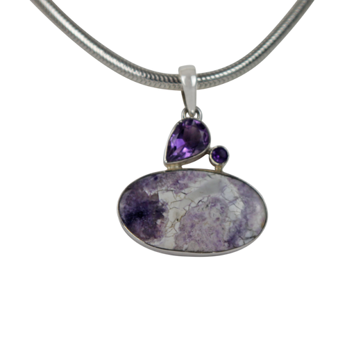 Impressive and Royalistic Purple 925 Sterling Silver Statement Pendant with Tiffany and Amethysts Gems