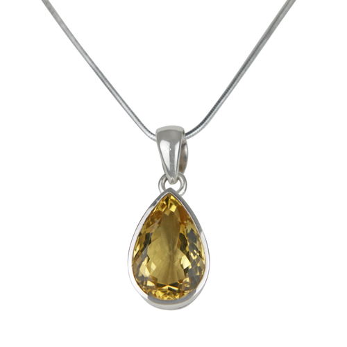 A stunning Solitaire Pear-shaped Mixed-cut Citrine pendant features a flawless Citrine gemstone.