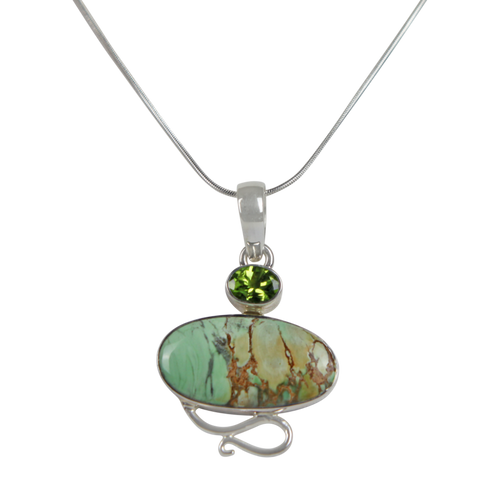 Truly Exquisite Sterling Silver Statement Pendant with a Beautiful and Rare Variscite Crystal as the Main Stone.
