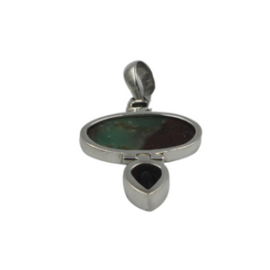 Oval-Shaped Serpentine Handcrafted Statement Pendant Accent with a Faceted Smoky Quartz