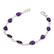 Load image into Gallery viewer, Teardrop shaped Cabochon Amethyst Gemstone Classic Sterling Silver Bracelet