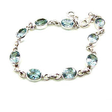 Load image into Gallery viewer, Blue Topaz Oval Gemstone Classic Sterling Silver Bracelet