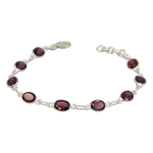Load image into Gallery viewer, Garnet Oval Gemstone Classic Sterling Silver Bracelet