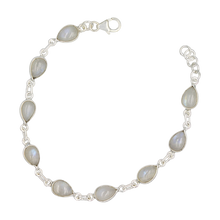 Load image into Gallery viewer, Teardrop shaped Cabochon Rainbow Moonstone Gemstone Classic Sterling Silver Bracelet