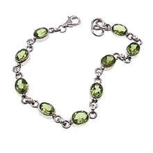 Load image into Gallery viewer, Peridot Oval Gemstone Classic Sterling Silver Bracelet