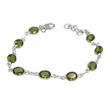 Load image into Gallery viewer, Oval shaped Peridot Gemstone Classic Sterling Silver Bracelet