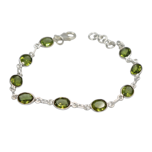Oval shaped Peridot Gemstone Classic Sterling Silver Bracelet